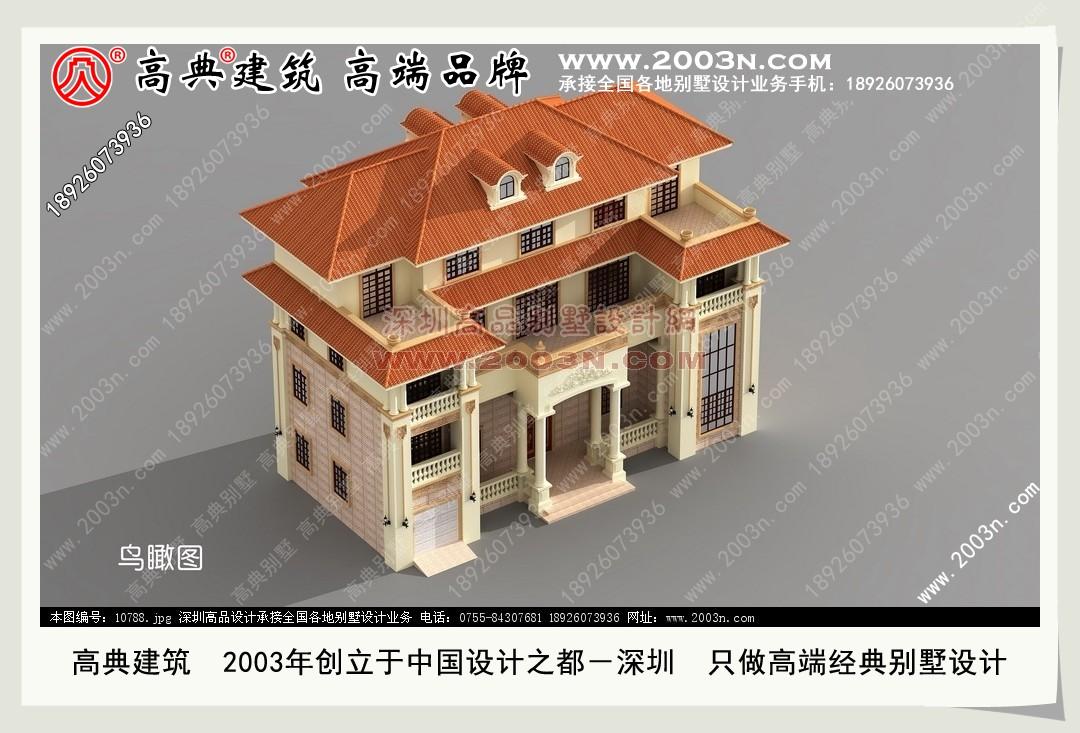 2层半别墅图纸 农村别墅设计图 别墅效果图 别墅外观图